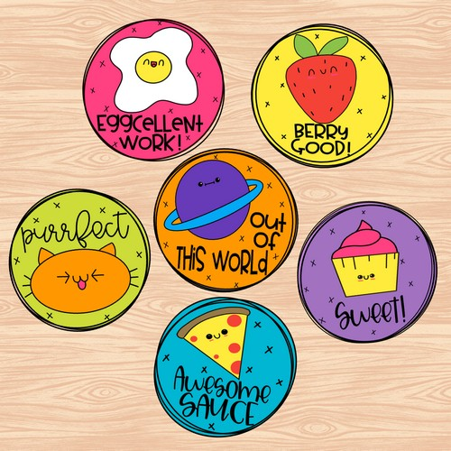 image of 6 digital stickers created by Erintegration