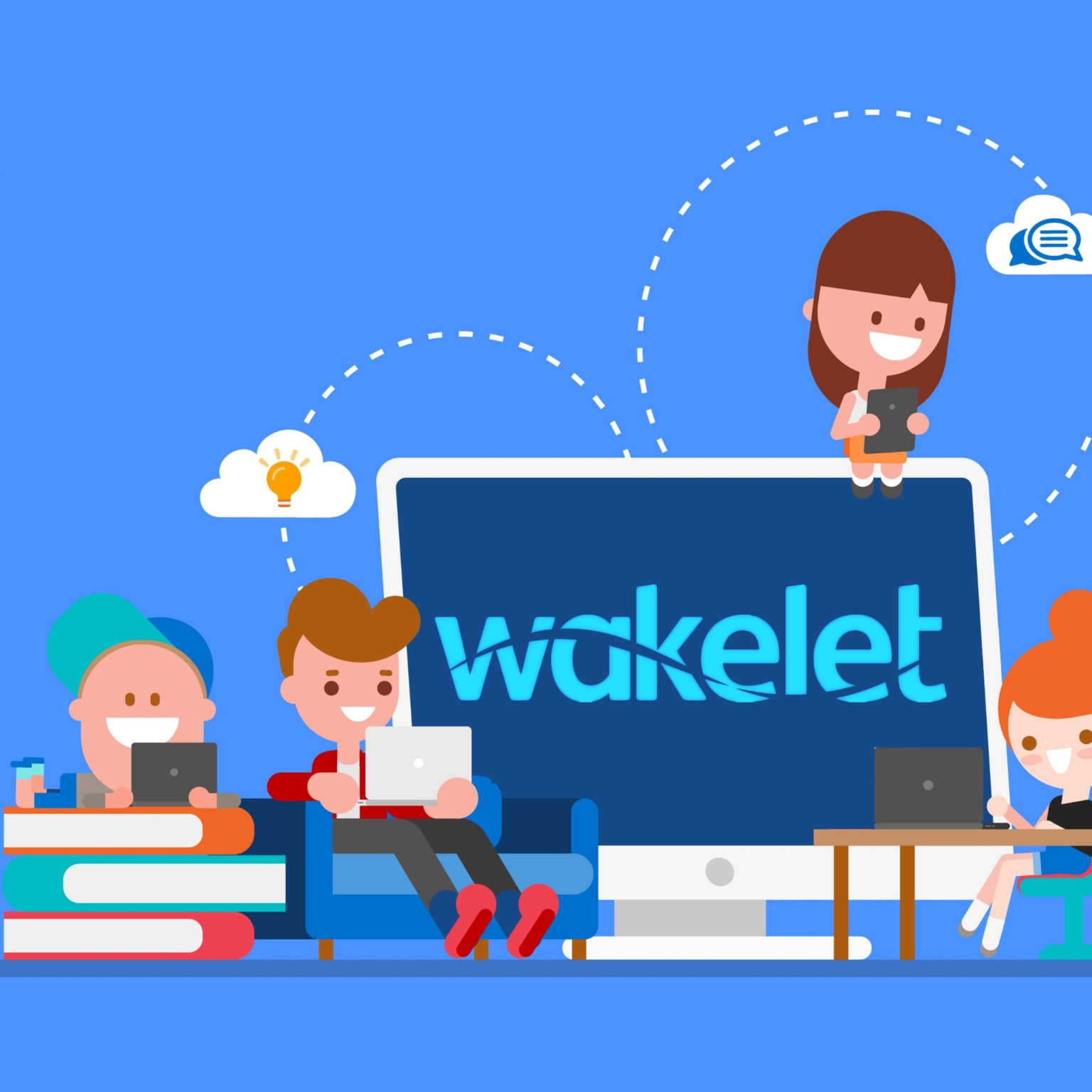 illustration of kids collaborating on Wakelet Spaces on various devices