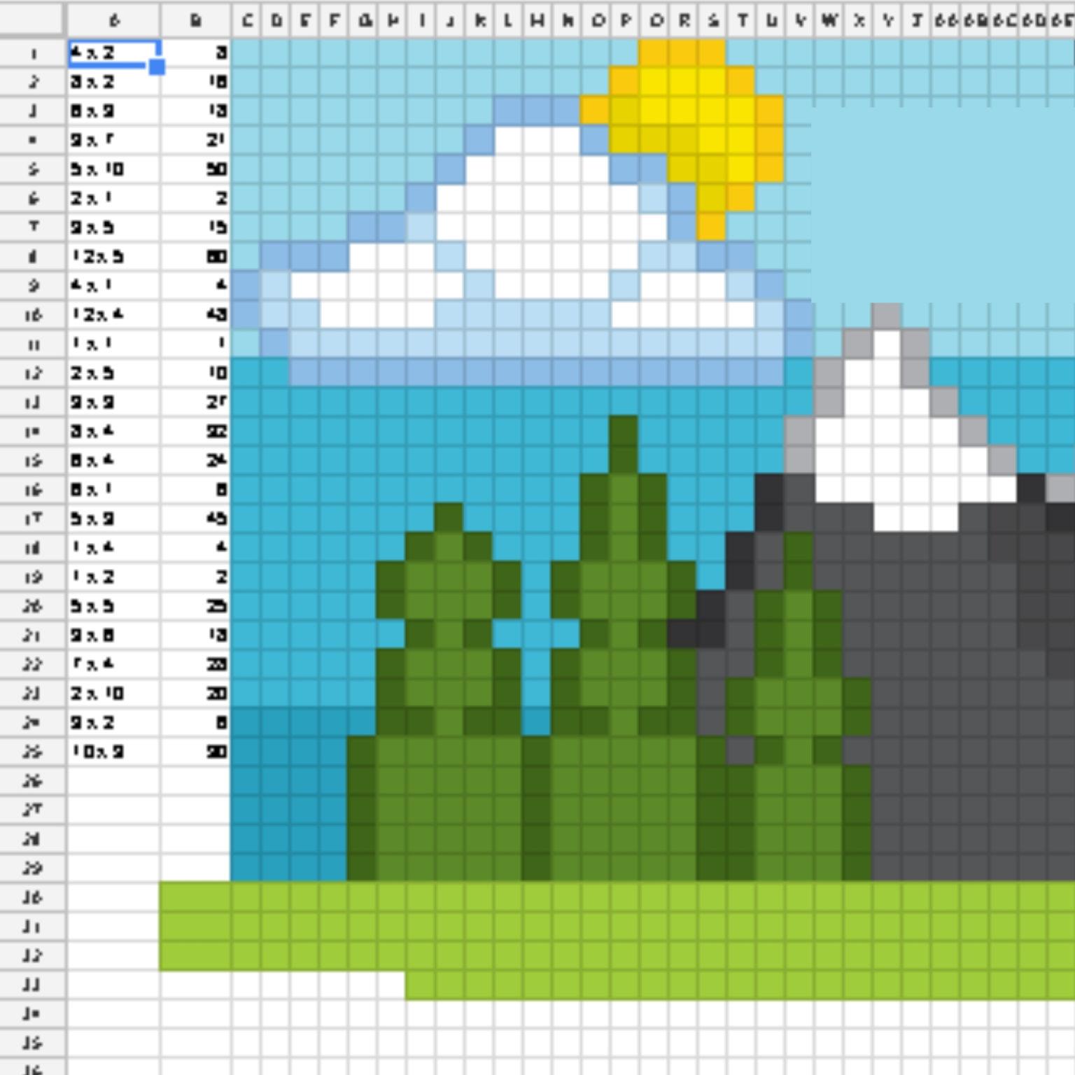 Google Sheets Digital Pixel Art Reveal Screen Shot