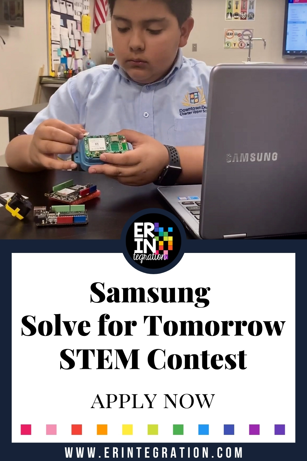 image of student building with circuits for Samsung Solve for Tomorrow STEM Contest
