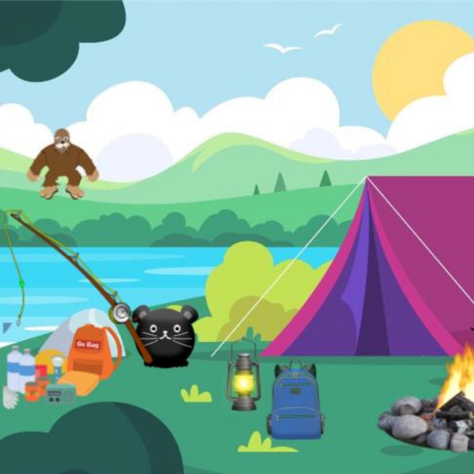 digital desk pet in a camping scene