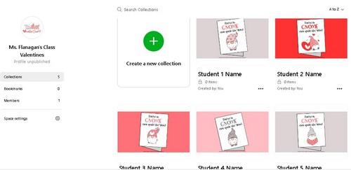 screenshot of Wakelet Spaces digital valentines
