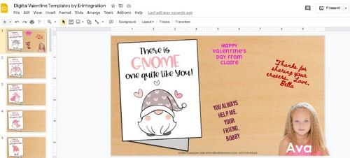 screenshot of Google Slides digital Valentines