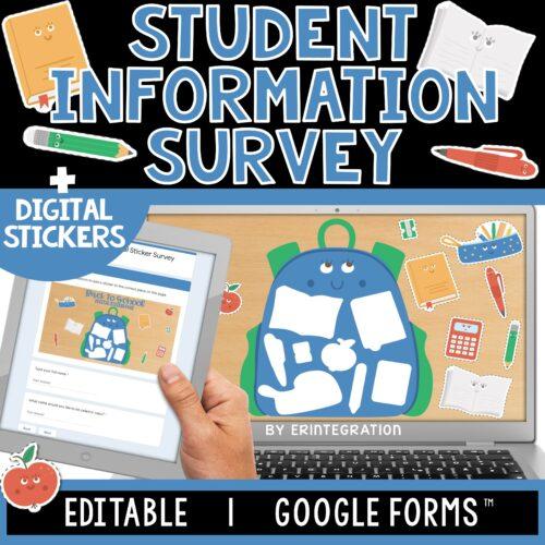 Student Information | Digital Sticker Survey | Editable | Google Forms COVER