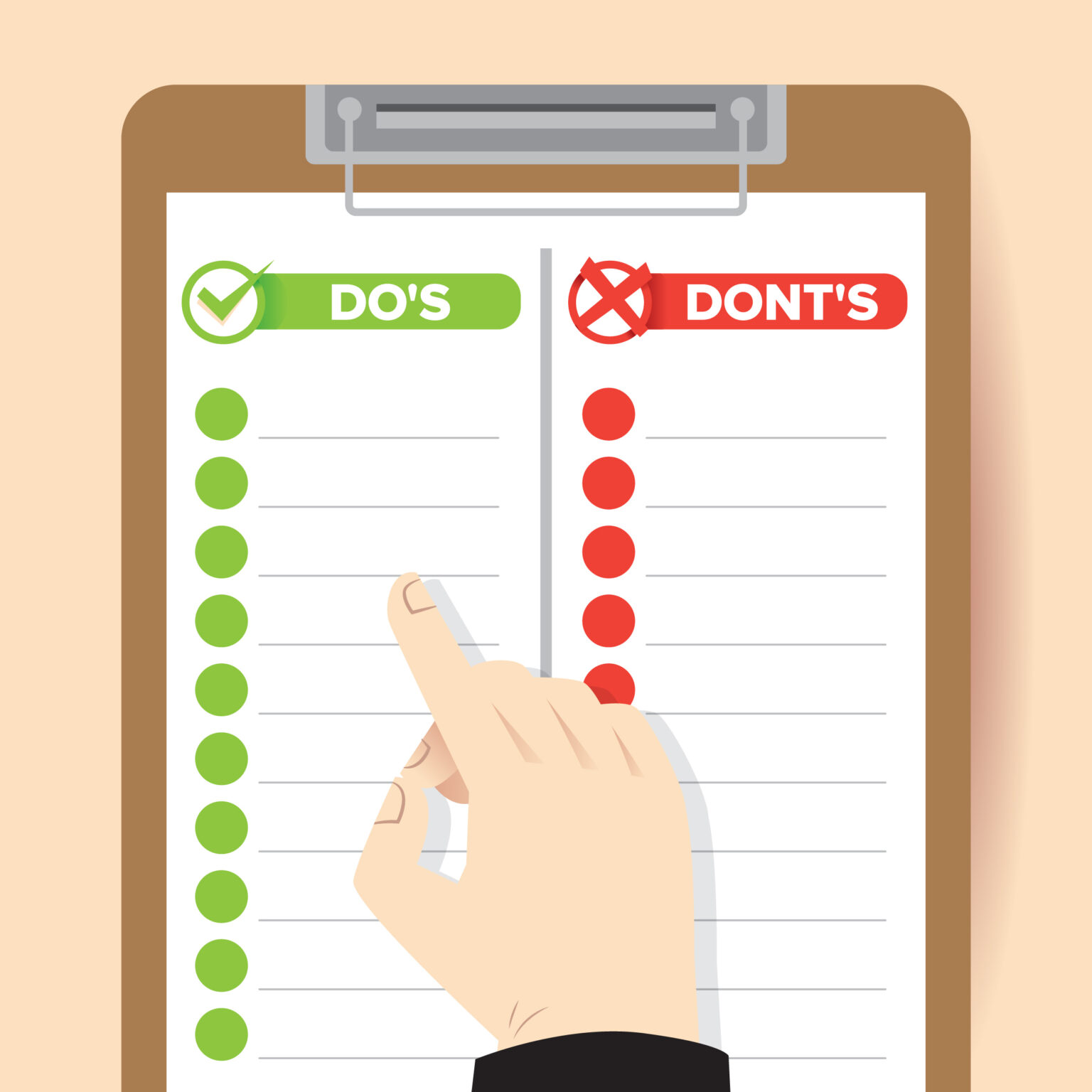 finger pointing to a check list image